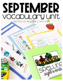 September Vocabulary Unit- For Special Education