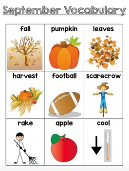 September Vocabulary Unit for Early Elementary or Students with Special Needs