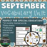 September Vocabulary Unit for Special Education
