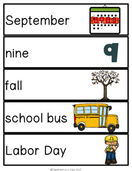 September Vocabulary Unit for Special Education