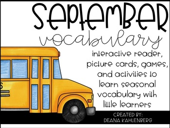 September Vocabulary {Vocabulary Cards, Mini-Reader, Activities}