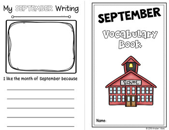September Vocabulary: Word Wall, Booklet and Activities