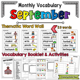 September Vocabulary Word Wall, Booklet, Writing Activities and BINGO