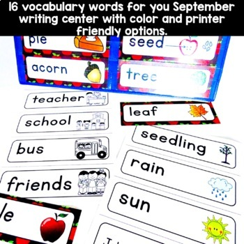 September Vocabulary Words (Johnny Appleseed, Apples, Fall, School)