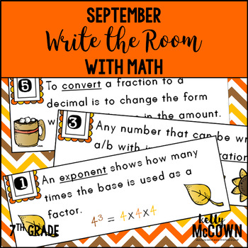 September WRITE THE ROOM with Math - 7th Grade