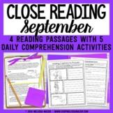 Close Reading Comprehension Passages - September - Distanc