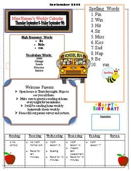 September Weekly Homework Sheet