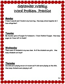 September Weekly Math Word Problem Practice