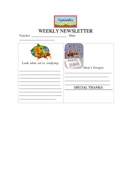 September Weekly Newsletter Template