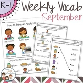 September Daily Weekly Thematic Vocabulary Word Work