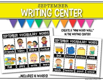 Mini Word Wall {September} for the Writing Center - Interactive!
