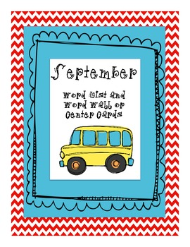 September Word List and Word Wall Cards