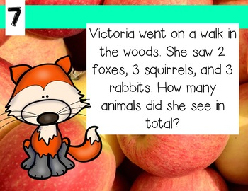 September Word Problems First Grade Addition and Subtraction Warm Ups