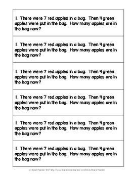 September Math Journal Word Problems for 1st Grade