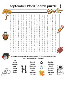 September Word Search Puzzle