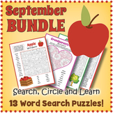 September Word Search Puzzle Bundle