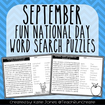 September Word Search Puzzles