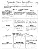 September: Word Study Menu