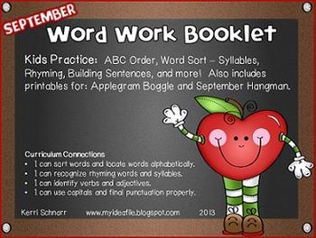 September + October Word Work Activity Booklet