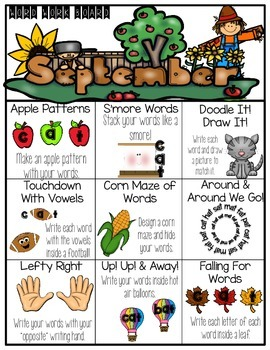 September Word Work Choice Board