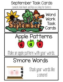 September Word Work Choice Board