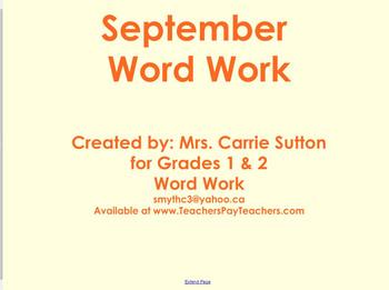 September Word Work: SMARTNotebook