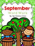 September Word Work for Kindergarten