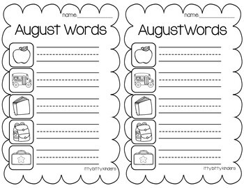 August and September Vocabulary Words