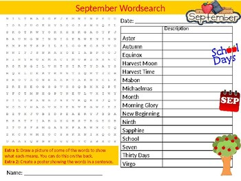 September Wordsearch Sheet Starter Activity Keywords Months of the Year