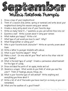 September Writer's Notebook ~ Writing Prompts FREEBIE