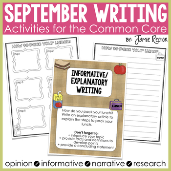 September Writing Activities Aligned to Common Core Standards