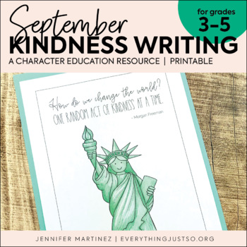 September Writing Activity   Thankful for Kindness Writing   Labor Day Writing