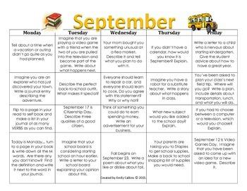 September Writing Calendar