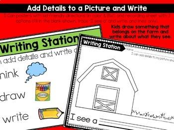 September Writing Centers for Kindergarten