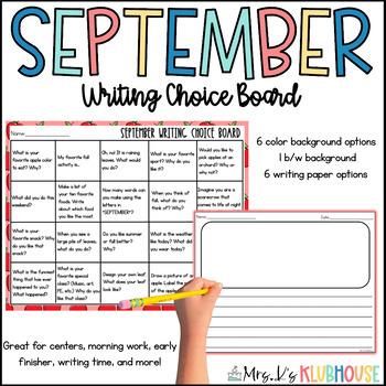 September Writing Choice Board