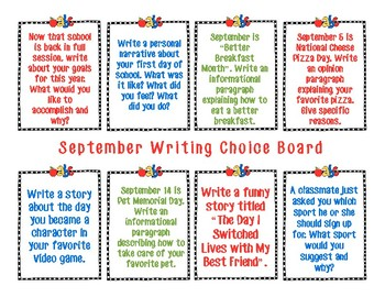 September Writing Choice Board