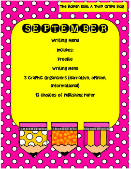 September Writing Menu with Graphic Organizers & Publishing Paper! Freebie Inc.!