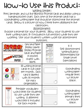 September Writing Prompt Cards and Paper Freebie