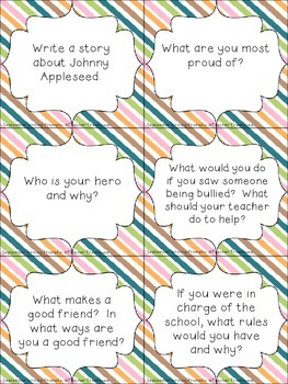 September Writing Prompt Task Cards