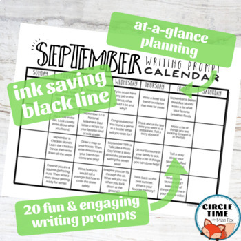 September Daily Writing Prompts, Back to School NO PREP Journal