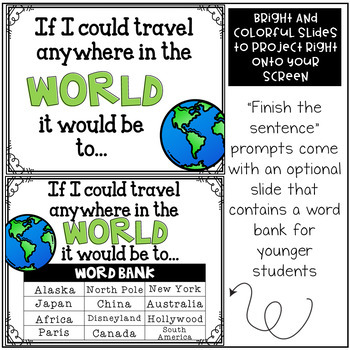September Writing Prompts: A PAPERLESS Resource Compatible w/Google Slides & PPT