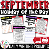 September Writing Prompts | Morning Meeting | Holiday of the Day