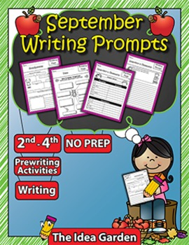 September Writing Prompts NO PREP (Second, Third, and Fourth)