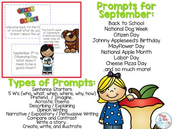 September Photo Writing Prompt Task Cards