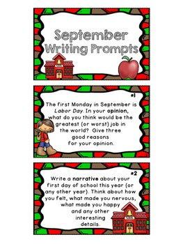 September Writing Prompts: Task Cards