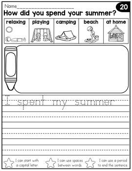September Writing Prompts for Kindergarten to Second Grade
