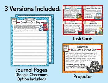 September Writing Prompts for National Holidays w/ Google Classroom Option