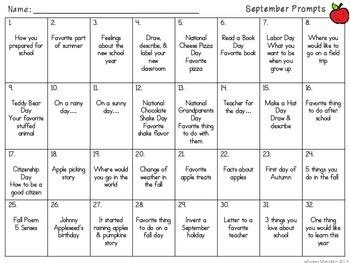 September Writing Task Cards K -2