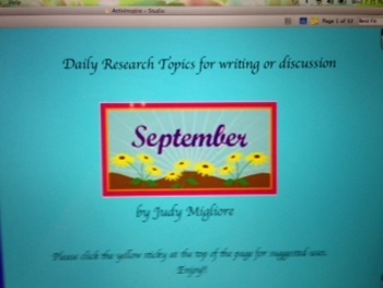 September Writing or Research Topic Promethean Board Flipchart