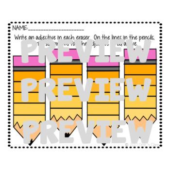 September and Back to School Adjective Activity